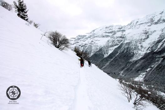 Cortando ladera en el valle de Pineta encima del parador.